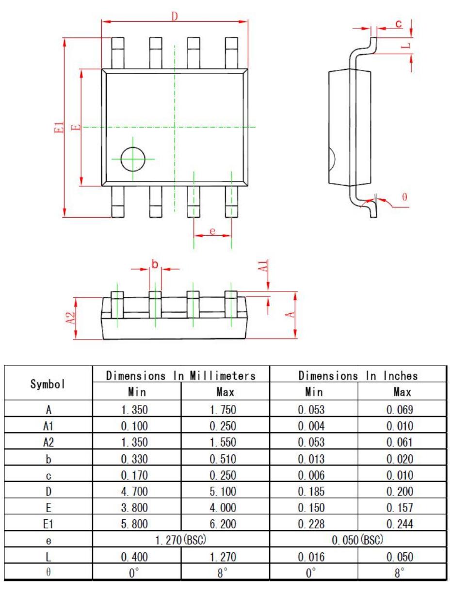 SOP8外形图与封装尺寸