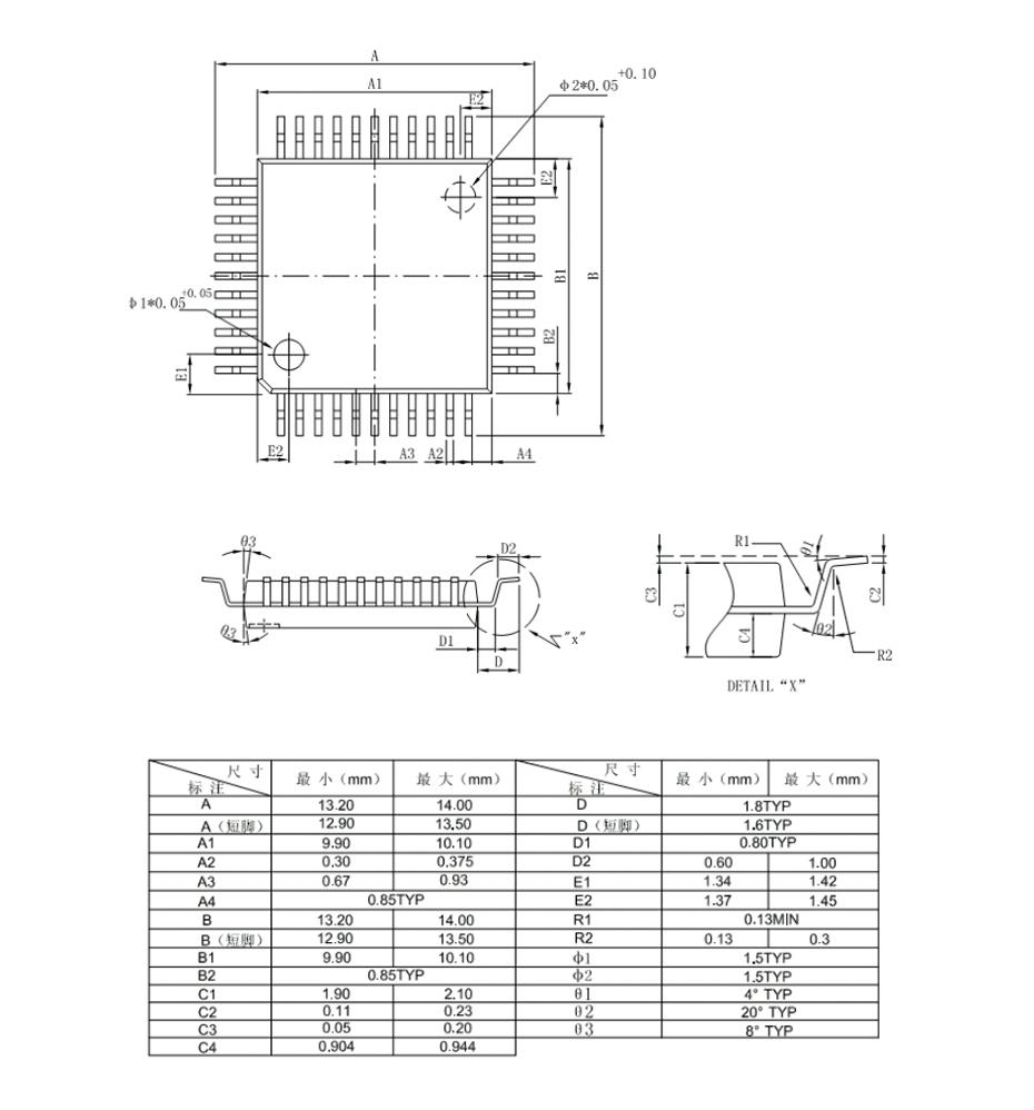 QFP44外形图与封装尺寸
