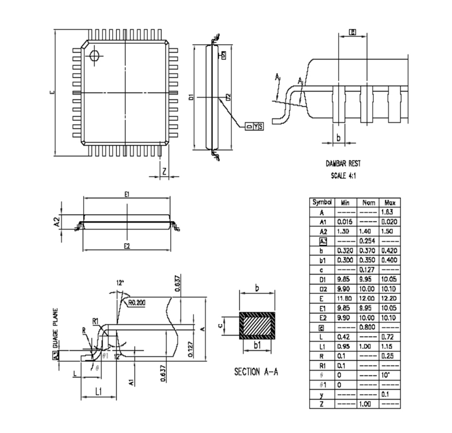 LQFP44外形图与封装尺寸