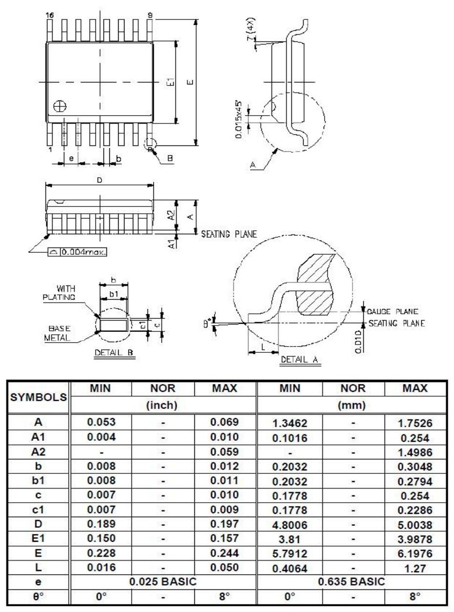 YF2711单机片SSOP16外形图与封装尺寸