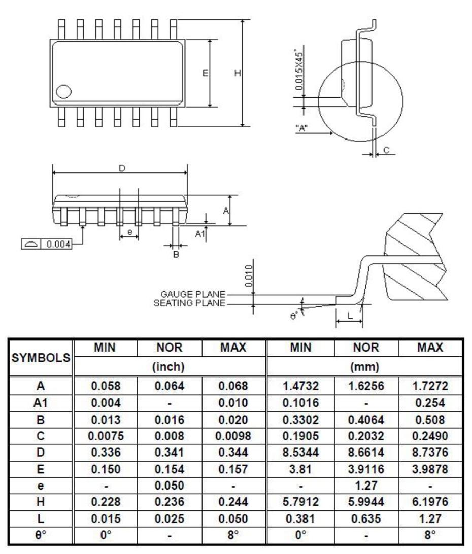 YF2711单机片SSOP14外形图与封装尺寸