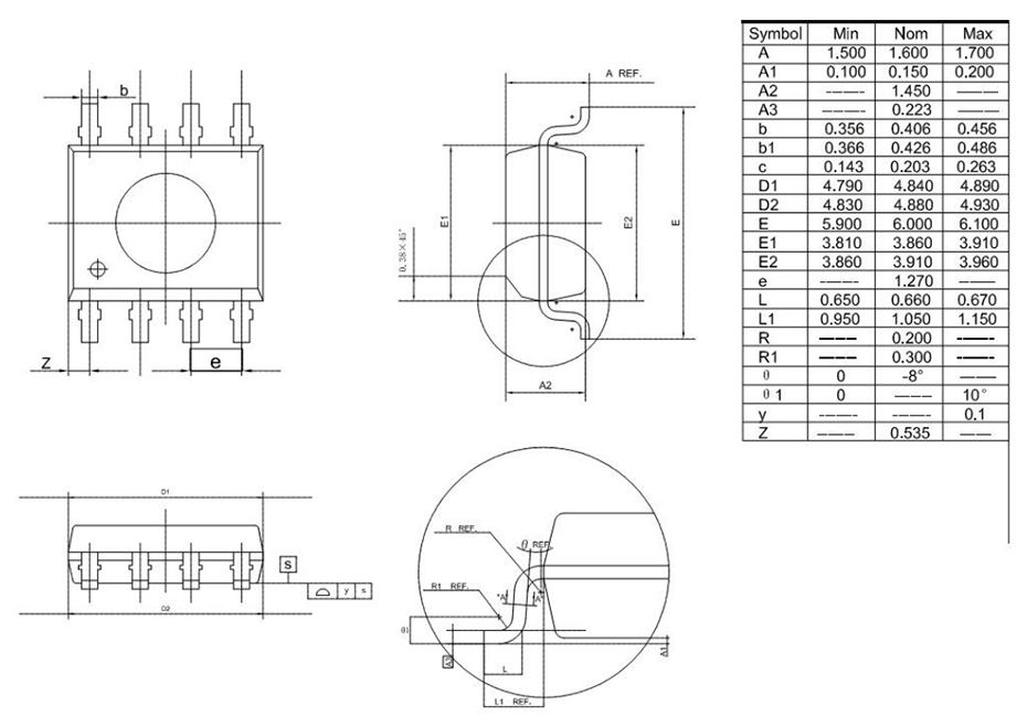 YF2711单机片SOP8外形图与封装尺寸