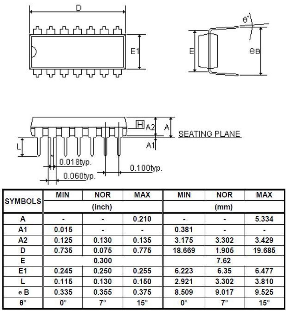 YF2711单机片P-DIP14外形图与封装尺寸