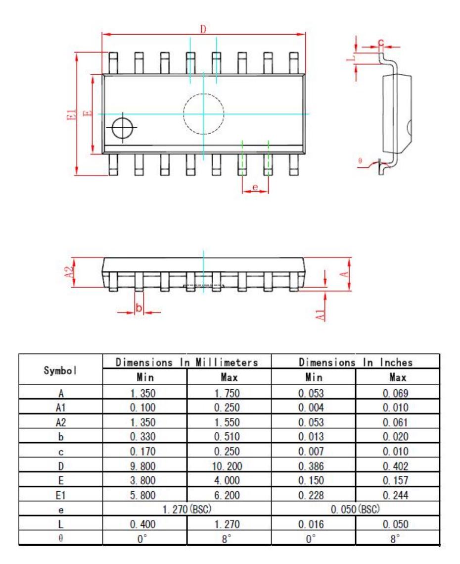 SOP16外形图与封装